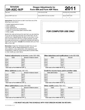 Fillable Online oregon Schedule OR-ASC-N/P, Oregon Adjustments for ...