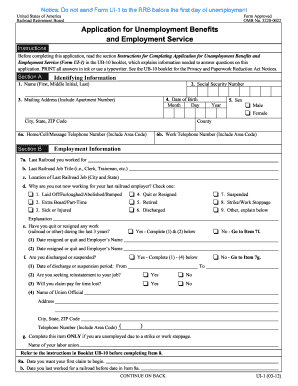 Fillable Online rrb UI-1 - Application for Unemployment ...
