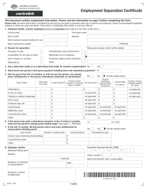 Employment Separation Certificate - Department of Human Services