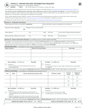 Fillable Online MV2896 Vehicle/Driver Record Information Request ...