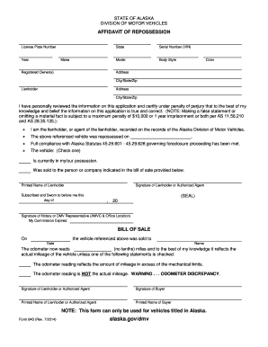 Bill Of Sale Form Alaska Affidavit Of Repossession Form Templates