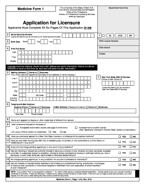 Fillable Online op nysed Medicine Form 1 - Application for ...