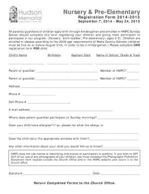 Nursery And Pre Elementary Sunday School Registration Form 2017 Indd Hmpc