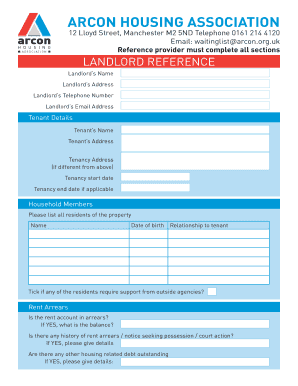 Landlord Reference Form - Arcon Housing Association Ltd