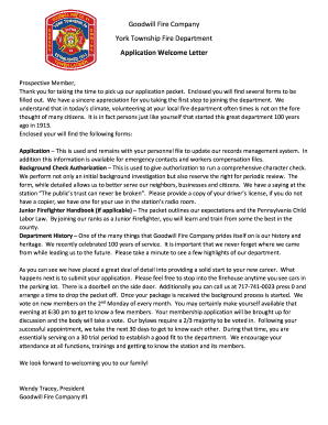 Application Welcome Letter - York Township Fire...