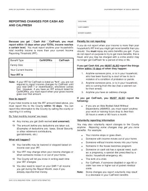 Fillable Online cdss ca SAR 2 (3/15) - Reporting Changes For Cash ...