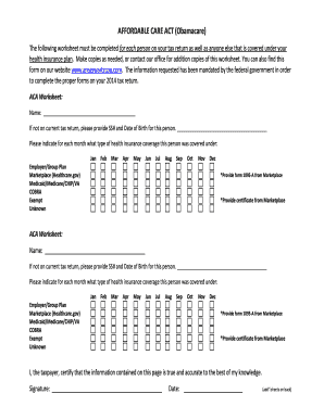 Affordable Care Act Obamacare Client Worksheet