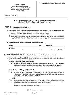 Fillable Online Recorder Countyofventura Legal Document Assistant - Legal document assistant