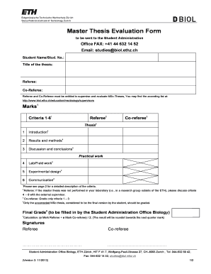 Master thesis evaluation form