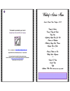 Waldorf-Astoria Menu - Dinner and a Murder Mystery