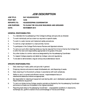 housekeeper application form pdf day housekeeper