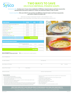Sysco Frozen Soups - Fill Online, Printable, Fillable, Blank