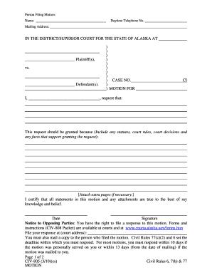 Fillable Online CIV-805 Motion (3-10) - Alaska Court Records - State