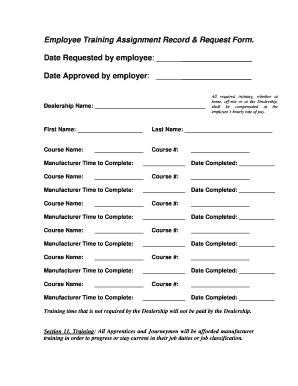 mech701 Fillable Online mech701 Employee Training Request Form - IAMAW Local ...