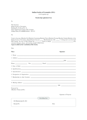 Membership form & Details - Indian Society of Geomatics - isgindia