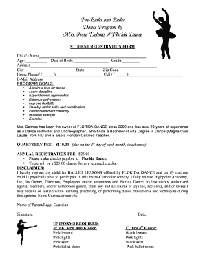 Registration Form For Dance - Fill Online, Printable, Fillable ...