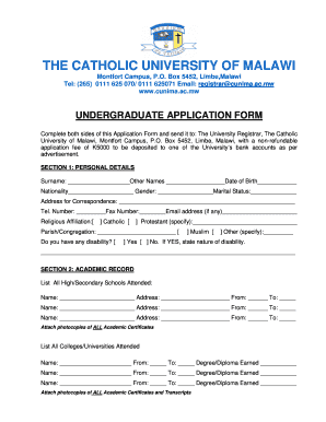 Cunima Application Forms