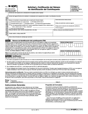 form w 9 in spanish  Fillable Online irs Form W-6 (SP) (Rev. August 6 ...