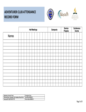 ADVENTURER CLUB ATTENDANCE RECORD FORM - SQ Youth