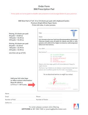 Fillable Online BMI Prescription Pad Order Form - Dr. Zumbado Fax ...