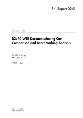 R2/R0-WTR Decommissioning Cost Comparison and Benchmarking ...