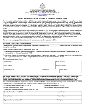 Direct Rollover/Trustee to Trustee Transfer Request Form