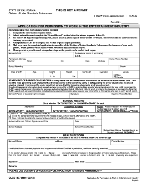 Fillable Online dir ca Entertainment work permit application form ...