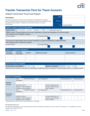Transfer Transaction Form for Travel Accounts - Citibank