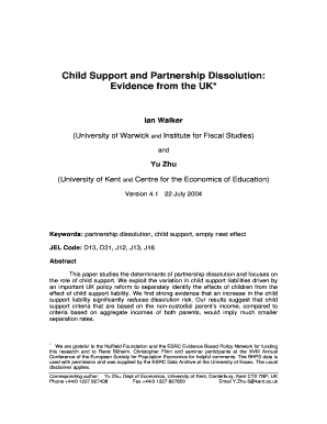Attractive Child Support And Partnership Dissolution: