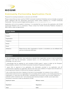 Fillable Online Community Partnership Application Form Fax Email ...
