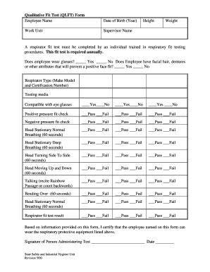 Fillable Online Qualitative Fit Test (QLFT) Form Employee Name ...