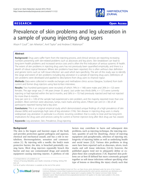 Prevalence of skin problems and leg ulceration in a sample of young injecting drug users