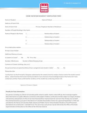 Fillable Online Osse Dc Sy 2014 2015 Home Visitation Residency Verification Form Osse Dc Fax Email Print Pdffiller