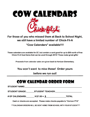 Fillable Online Chick-Fil-A Cow Calendar Order Form - Murray ...