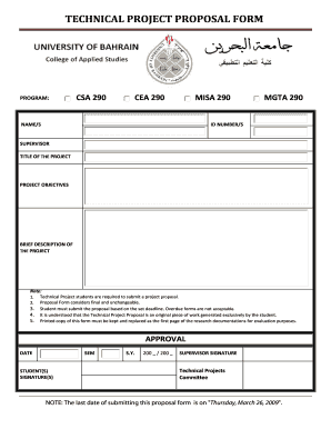 TECHNICAL PROJECT PROPOSAL FORM - staff uob edu