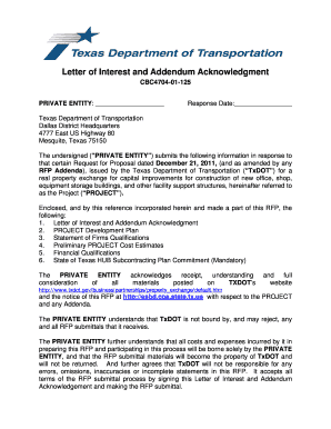 Rfp Response Letter Form A Of Interest And Addendum Acknowledgmentdoc