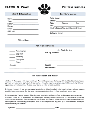 Pet Taxi Service Consent Form - Fill Online, Printable, Fillable ...