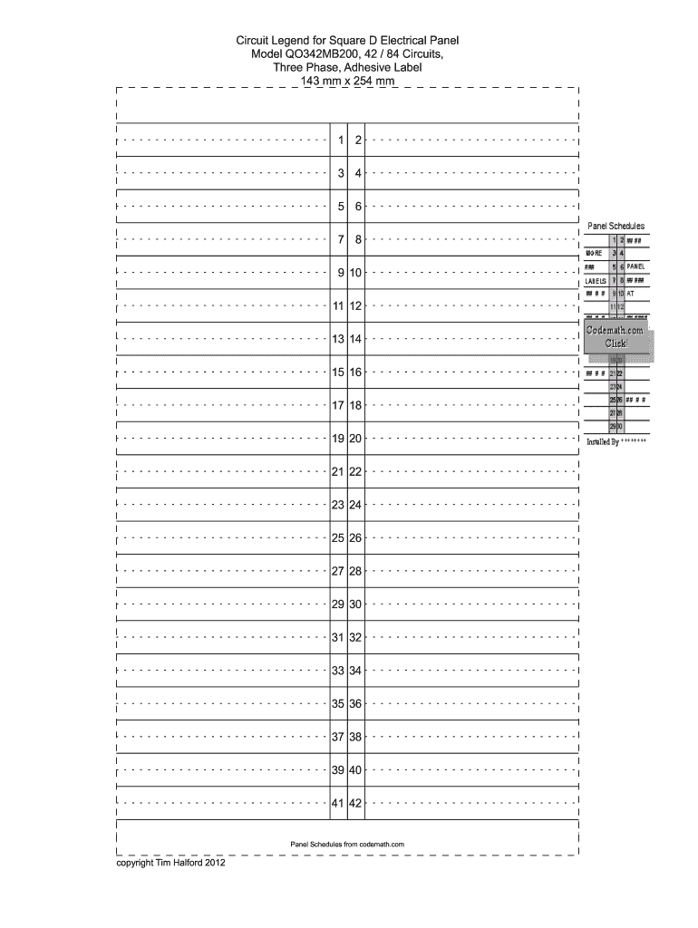image regarding Printable Circuit Breaker Directory Template known as Breaker Box Listing Template - Fill On line, Printable