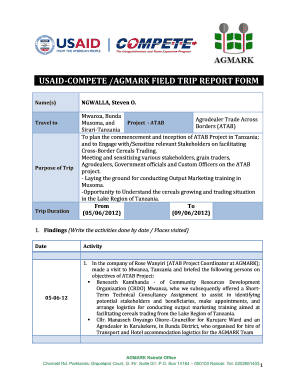 USAID-COMPETE /AGMARK FIELD TRIP REPORT FORM