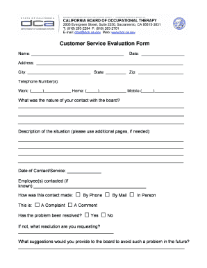 Fillable Online bot ca Customer Service Evaluation Form