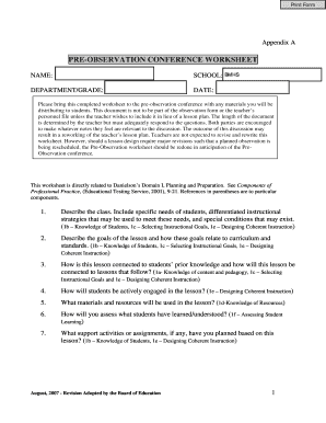 pre observation conference teacher form