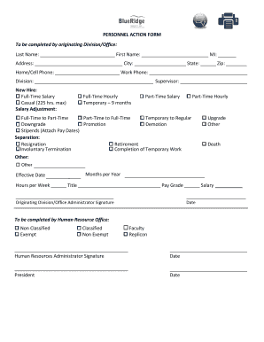 Editable Personnel Action Form Template Word Free Fillable