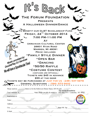 Halloween Dance 2014 Flyer with pay slip - The Forum Foundation - theforumfoundation