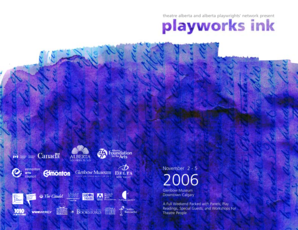 theatre alberta and alberta playwrights ' network present November 2 - 5 2006 Glenbow Museum Downtown Calgary A Full Weekend Packed with Panels, Play Readings, Special Guests, and Workshops For Theatre People Welcome to PlayWorks Ink