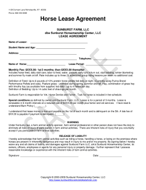 Horse Pasture Lease Agreement Forms And Templates Fillable