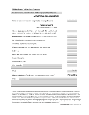 clergy housing allowance worksheet
