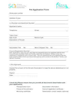 Fillable Online Pet Application Form - PetNet Fax Email Print ...
