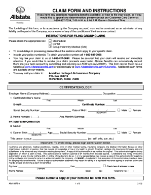 Fillable Online Allstate Claim Form - Employers Resource Fax Email ...