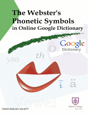 Editable phonetic symbols with examples in english - Fill