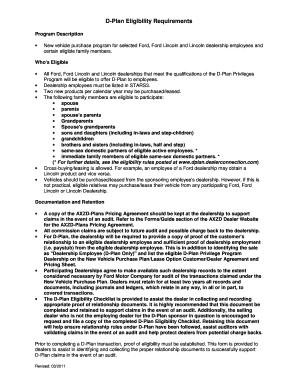 Fillable Online D-Plan Checklist Form - Diehl Ford Inc ...
